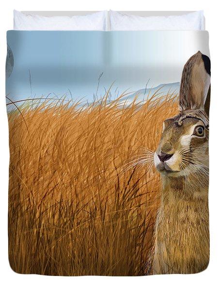 Hare In Grasslands Duvet Cover