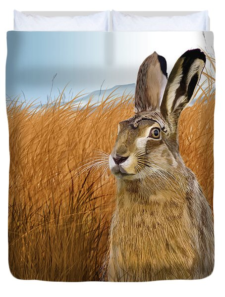 Hare In Grasslands Duvet Cover