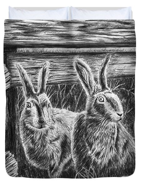 Hare Line  Duvet Cover by Peter Piatt