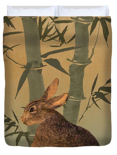 Hare Under Bamboo Tree Duvet Cover