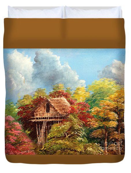 Duvet Cover featuring the painting Hariet by Jason Sentuf
