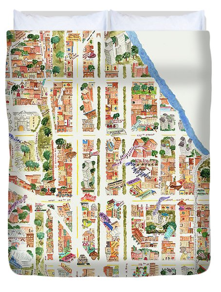 Harlem Map From 106-155th Streets Duvet Cover