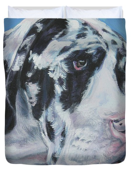 harlequin Great Dane Duvet Cover by Lee Ann Shepard
