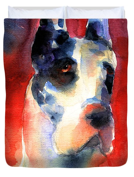 Harlequin Great Dane Watercolor Painting Duvet Cover