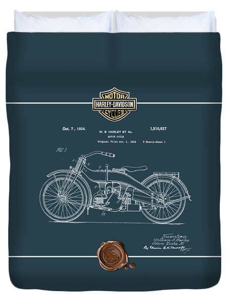 Duvet Cover featuring the digital art Harley-davidson 1924 Vintage Patent Blueprint  by Serge Averbukh