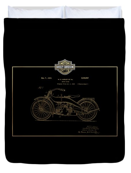 Duvet Cover featuring the digital art Harley-davidson 1924 Vintage Patent In Gold On Black by Serge Averbukh