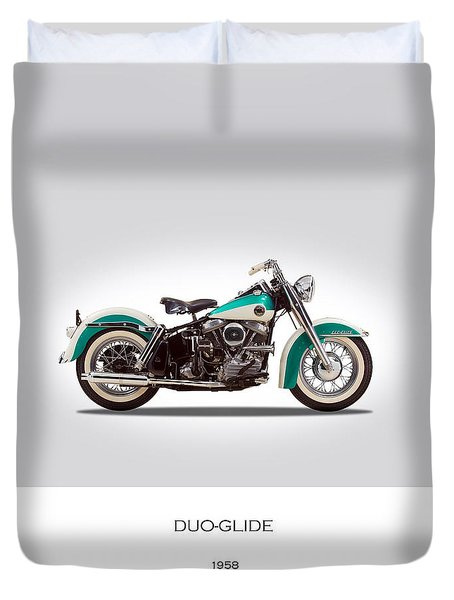 Harley-davidson Duo-glide Duvet Cover by Mark Rogan