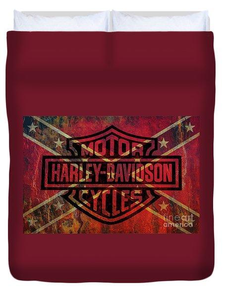 Harley Davidson Logo Confederate Flag Duvet Cover