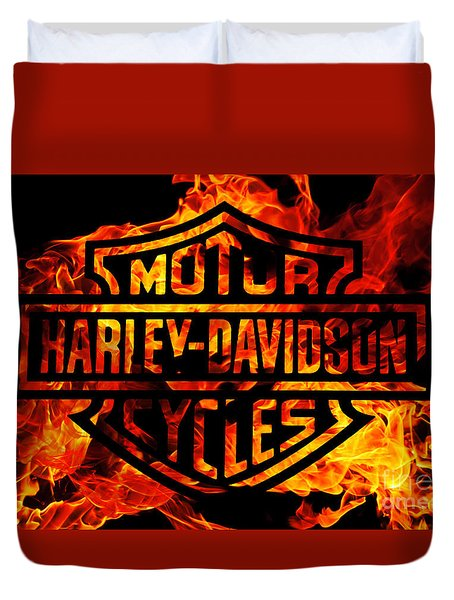Harley Davidson Logo Flames Duvet Cover by Randy Steele