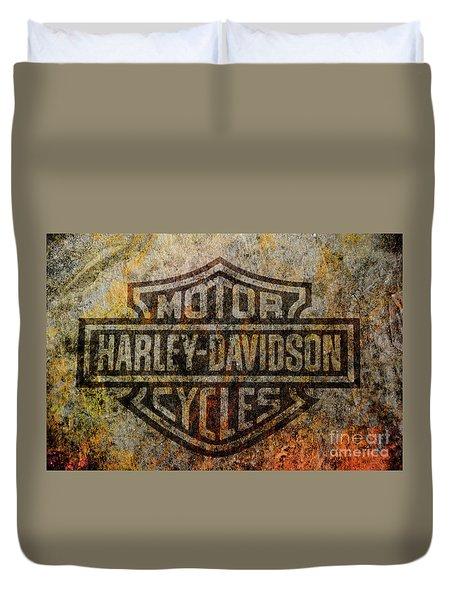 Harley Davidson Logo Grunge Metal Duvet Cover