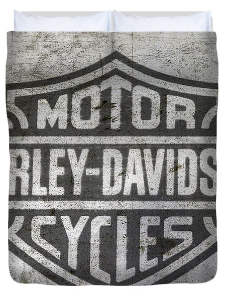 Harley Davidson Logo On Metal Duvet Cover