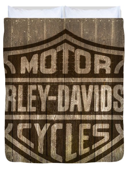 Harley Davidson Logo On Wood Duvet Cover