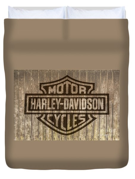 Harley Davidson Logo On Wood Duvet Cover by Randy Steele