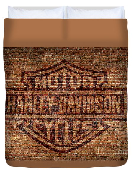 Harley Davidson Logo Red Brick Wall Duvet Cover by Randy Steele