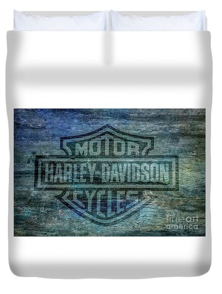 Harley Davidson Logo Weathered Wood Duvet Cover by Randy Steele
