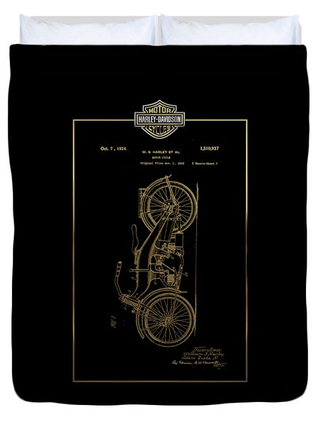 Duvet Cover featuring the digital art Harley-davidson Vintage 1924 Patent In Gold With 3d Badge On Black by Serge Averbukh