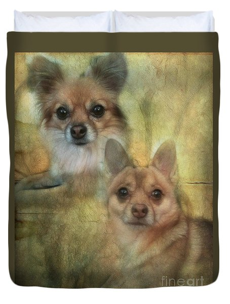 Duvet Cover featuring the digital art Harley Girl N Bear by Rhonda Strickland