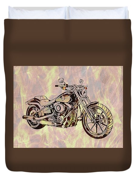 Duvet Cover featuring the mixed media Harley Motorcycle On Flames by Dan Sproul