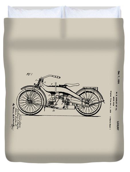 Harley Motorcycle Patent Duvet Cover by Bill Cannon