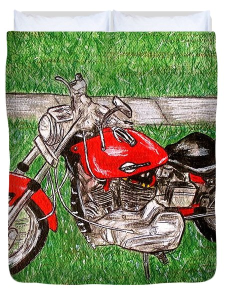 Harley Red Sportster Motorcycle Duvet Cover