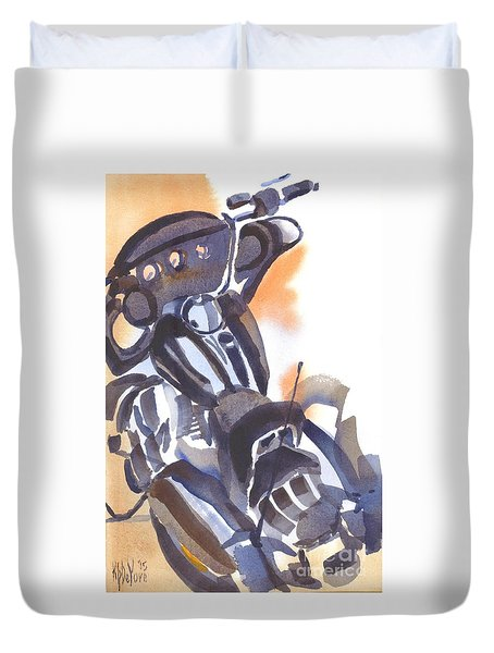 Duvet Cover featuring the painting Motorcycle Iv by Kip DeVore