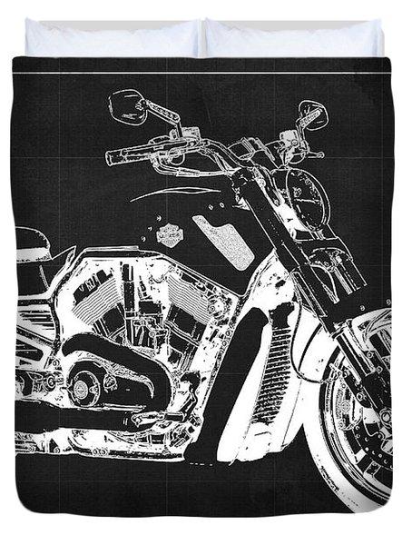 Harley V Rod Muscle Motorcycle, Dark Grey Blueprint, Original Gift For Bikers Duvet Cover