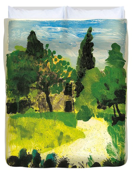 Duvet Cover featuring the painting Harmas Henri Fabre Provence Garden by Martin Stankewitz