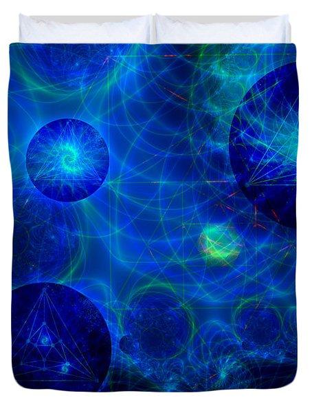 Duvet Cover featuring the digital art Harmonic Galaxies by Fran Riley
