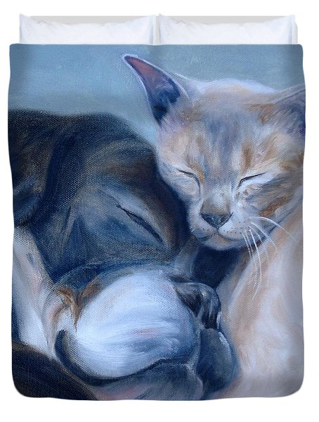 Duvet Cover featuring the painting Harmony by Donna Tuten