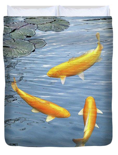 Duvet Cover featuring the photograph Harmony - Golden Koi by Gill Billington
