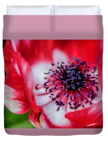 Duvet Cover featuring the photograph Harmony Scarlet Poppy Anemone by Julie Palencia
