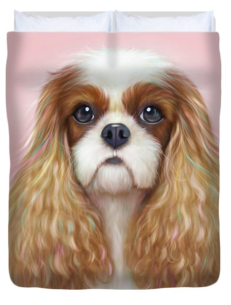 Duvet Cover featuring the painting Harper Cavalier by Catia Lee