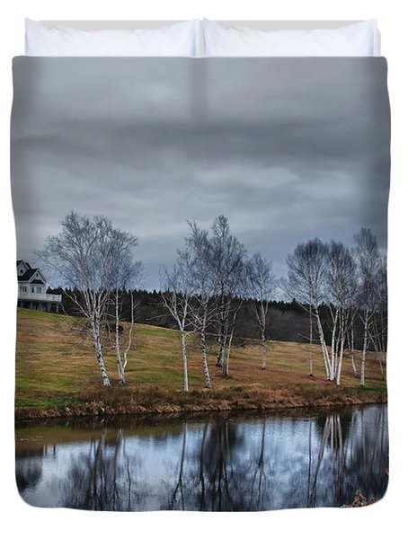 Harpswell Birches 14399 Duvet Cover by Guy Whiteley
