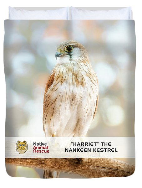 Harriet The Nankeen Kestrel, Native Animal Rescue Duvet Cover