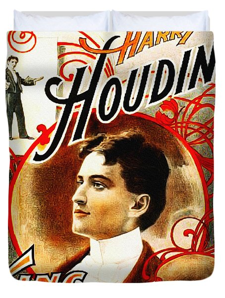 Harry Houdini - King Of Cards Duvet Cover by Bill Cannon