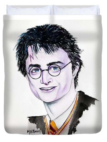 Duvet Cover featuring the painting Harry Potter by Maria Barry