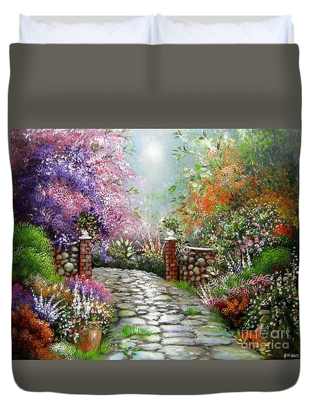 Duvet Cover featuring the painting Harry's Gate by Patrice Torrillo