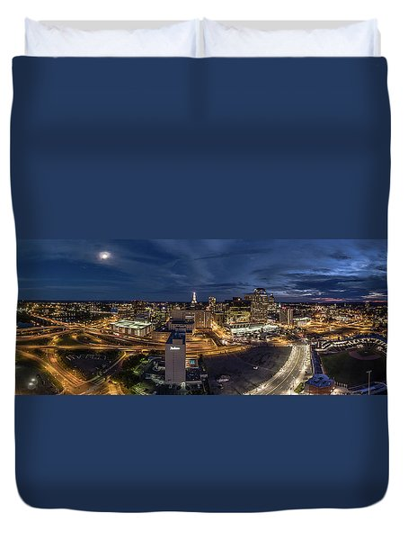 Hartford Ct Night Panorama Duvet Cover