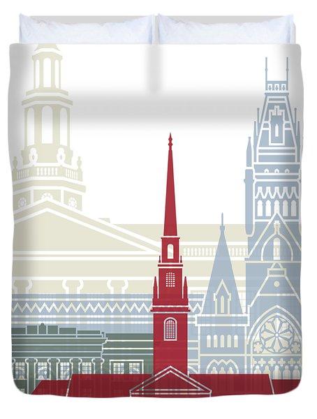 Harvard Skyline Poster Duvet Cover