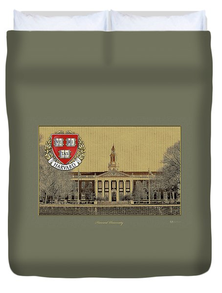 Harvard University Building Overlaid With 3d Coat Of Arms Duvet Cover