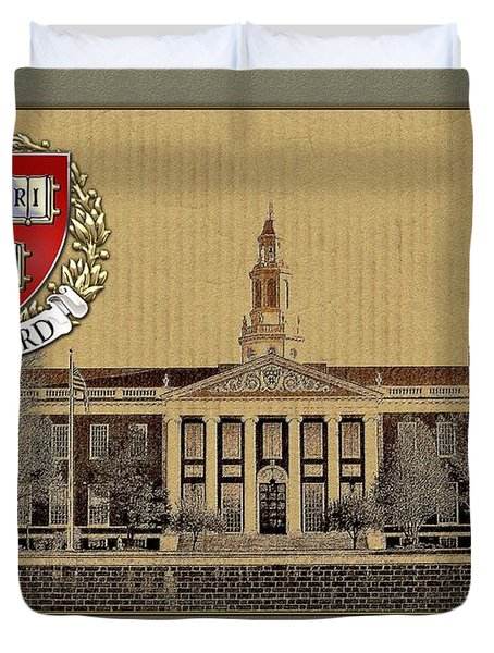 Harvard University Building With Seal Duvet Cover