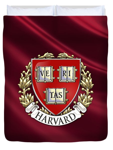 Harvard University Seal Over Colors Duvet Cover by Serge Averbukh