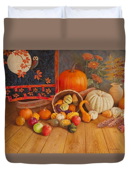 Duvet Cover featuring the painting Harvest Bounty by Nancy Lee Moran
