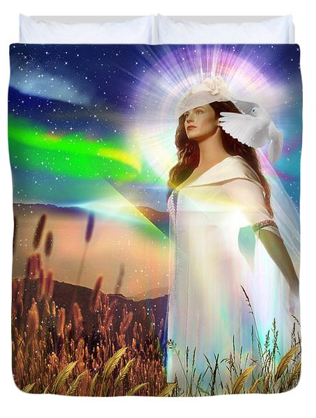 Duvet Cover featuring the digital art Harvest Bride by Dolores Develde