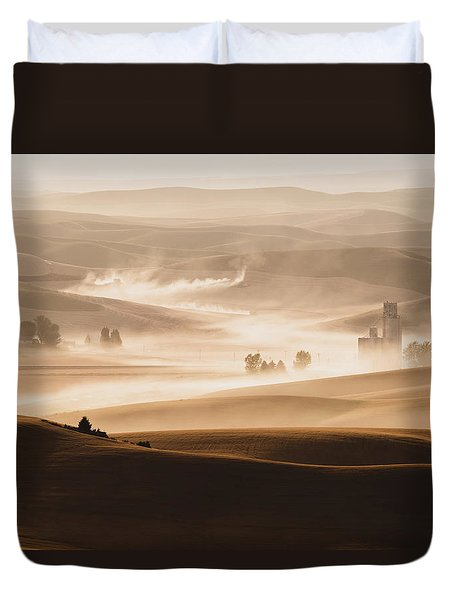 Duvet Cover featuring the photograph Harvest Dust by Chris McKenna