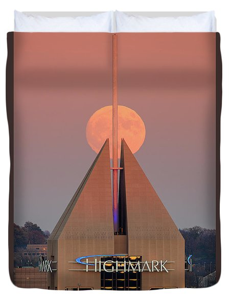 Duvet Cover featuring the photograph Harvest Moon In Pittsburgh  by Emmanuel Panagiotakis