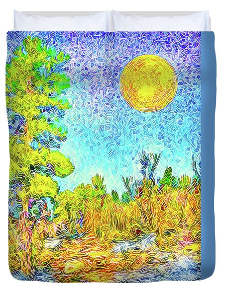 Duvet Cover featuring the digital art Harvest Moon On Crystal Mountain - Boulder County Colorado by Joel Bruce Wallach
