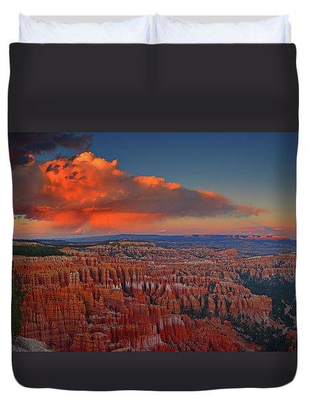 Harvest Moon Over Bryce National Park Duvet Cover by Raymond Salani III