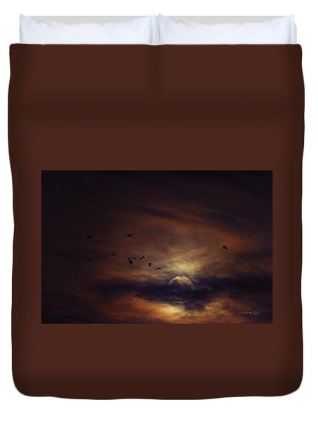 Harvest Moon Over Texas Duvet Cover