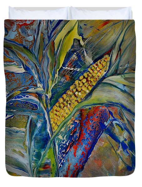 Duvet Cover featuring the painting Harvest Time by Deborah Nell